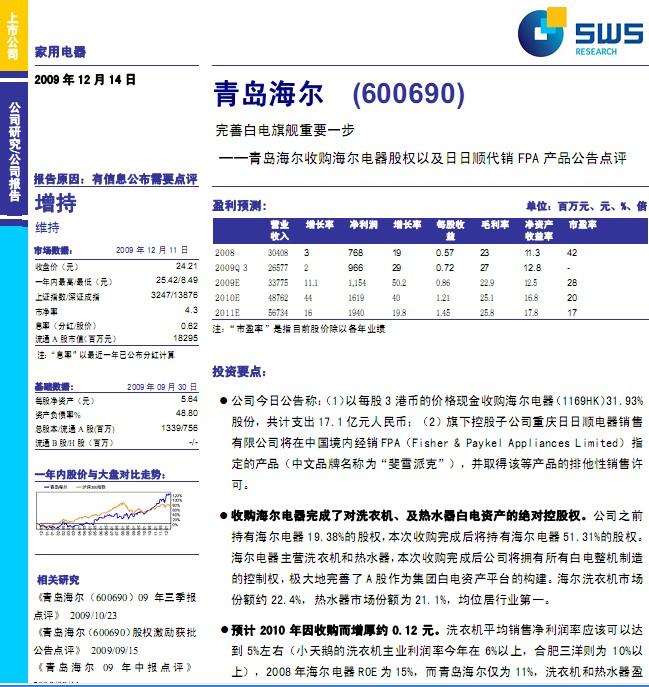 青岛海尔(600690)研究报告:收购海尔电器股权及日日顺代销fpa产品公告