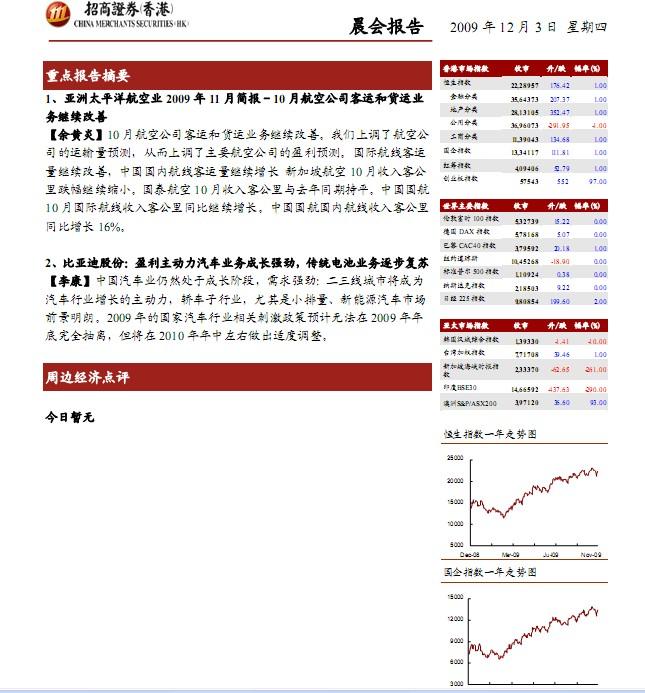 招商证券 香港 晨会报告