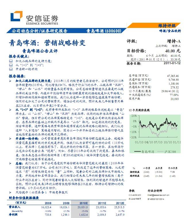 青岛啤酒(600600)营销战略转变